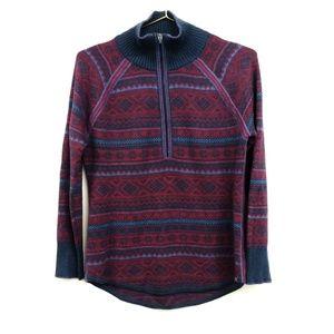 Eddie Bauer 1/4 Zip Fairisle Engage Sweater Small
